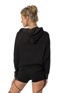 Black Hoodie for Women, Pullover Sweatshirt, Spring Fashion, Yoga Top, Festival Shirt, Boho Wear, Cowl Neck Hoodie, Assymetrical Sweater.