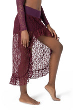 Load image into Gallery viewer, Unique Mini Maxi Asymmetrical Lace Skirt for Women | Gypsystyle Clothing for Burning Man Festivals, Tribal Fusion Bellydance and Salsa