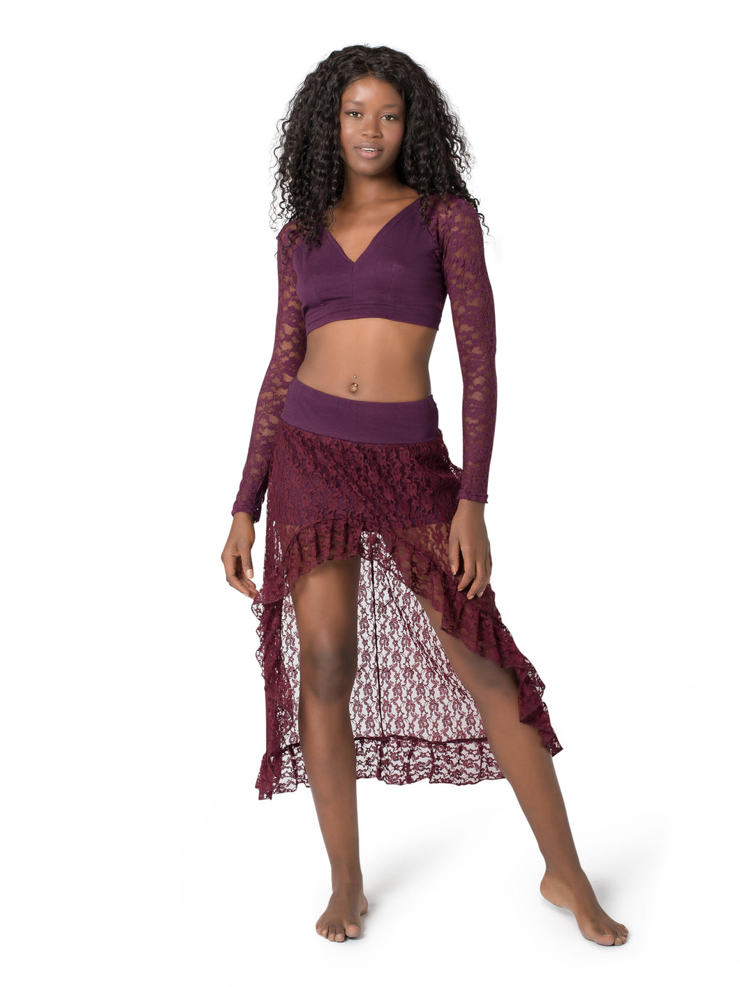 Unique Mini Maxi Asymmetrical Lace Skirt for Women | Gypsystyle Clothing for Burning Man Festivals, Tribal Fusion Bellydance and Salsa