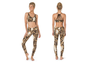 Gym Set for Women, Top and Leggings, Activewear, Yoga Clothing, Women Fitness Clothes, Sports Bra, High Waist, Open Back Top, Snake Leggings
