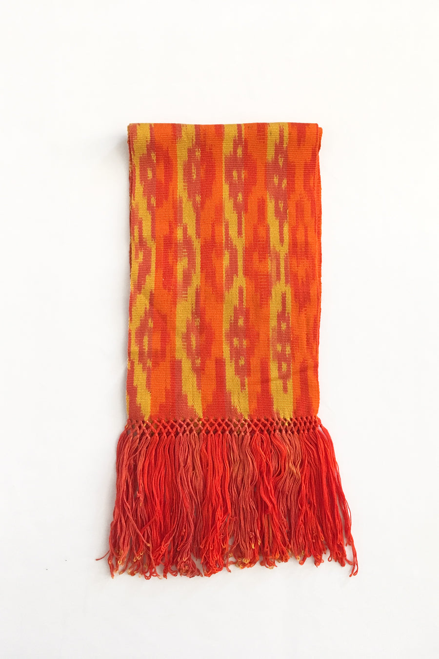yellow-orange-scarf-ikat-macana-grape-apples-stripes-makikuna