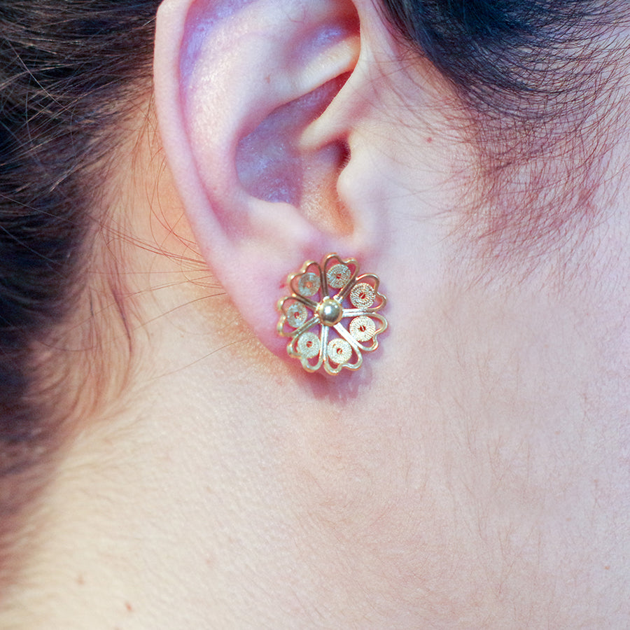HEART FILIGREE FLOWER EARRING