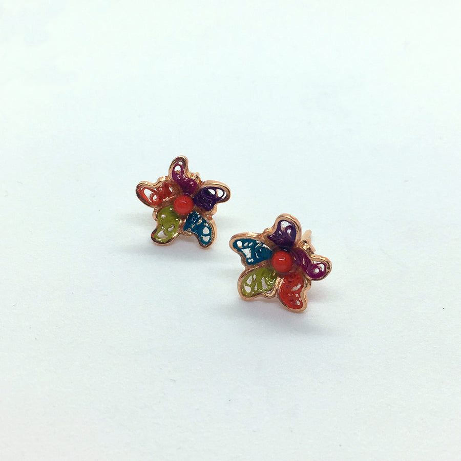 MULTICOLOR LILY FILIGREE EARRING