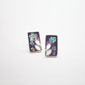 RECTANGLE FLOWER EARRING