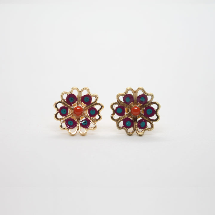 MULTICOLOUR HEART FILIGREE EARRING