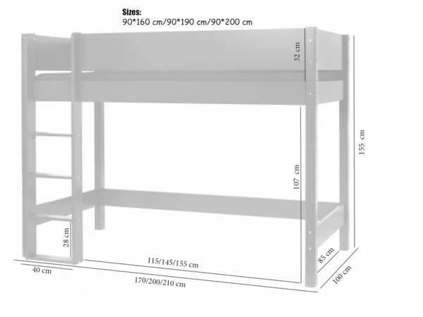 Manis-h Middle Loft Bed - ASK