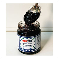 triple berry preserves red raspberry strawberry blueberry michigan made jam fruit spread