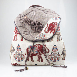 1094cb61ac Hand Crafted Limited Edition Ethnic Style Elephant Drawstring Backpack