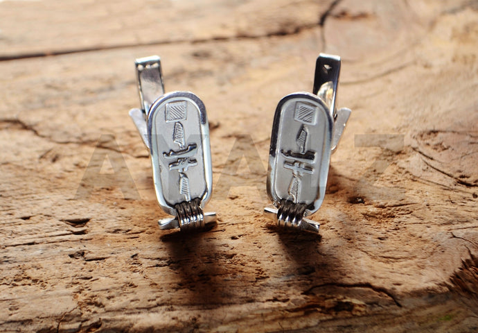 Sterling Silver Personalized English Or Hieroglyphics Cartouche Wedding Day Cuff-links Cuff Links