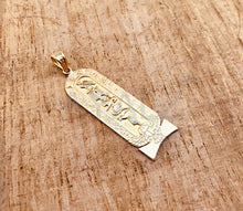 Personalized 18k gold Winged Scarab Cartouche Pendant