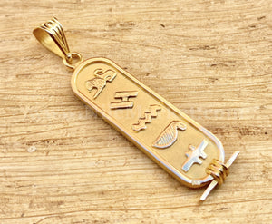 Egyptian 18k Solid Gold Personalized Customized 18K Gold Cartouche Up to (6 Characters)