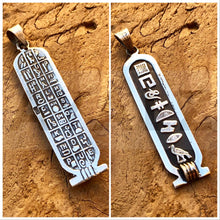 Personalized Sterling Silver Customized Cartouche Pendant With Hieroglyphics Table On The Back