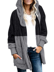 Womens Winter Patchwork Hooded Fluffy Coat - kattystory