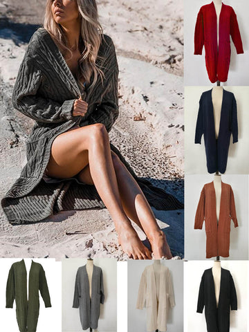Women's Fashion Casual Pocket Knitted Long Sleeve Sweater Cardigan