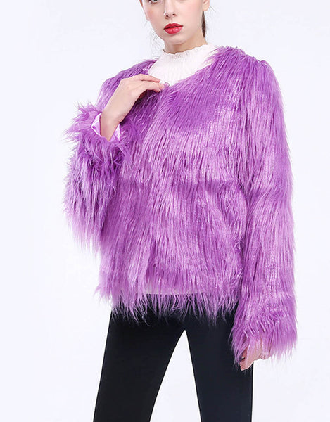 Shift Casual Solid Faux Fur Coat
