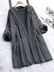 Casual Pockets Long Sleeve Teddy Bear Coat