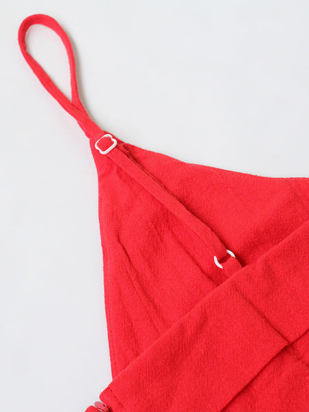 Red Spaghetti-Strap Flouce Dress