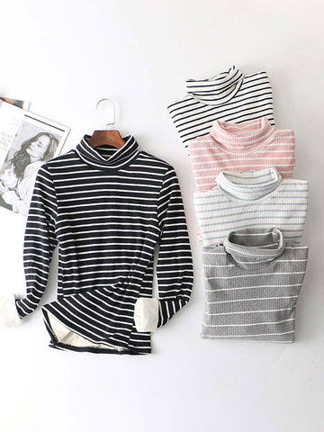 Striped Casual Fleece Turtle Neck Sweater