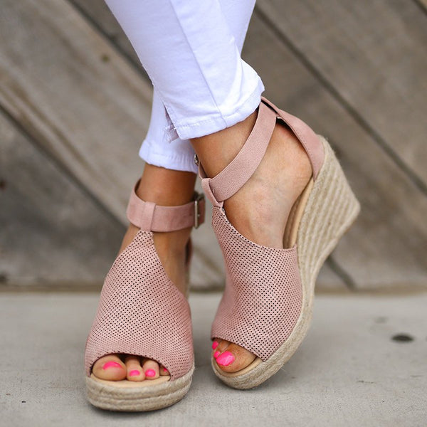 Espadrille Wedges Sandals with Adjustable Buckle