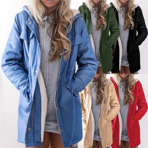 Hooded Long Sleeve Casual Patchwork Zipper Coat