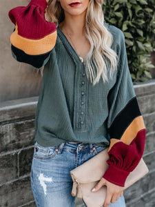 Color-Block Balloon Sleeve Casual Blouse