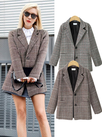 Vintage Shawl Collar Plaid Long Sleeve Blazer - kattystory