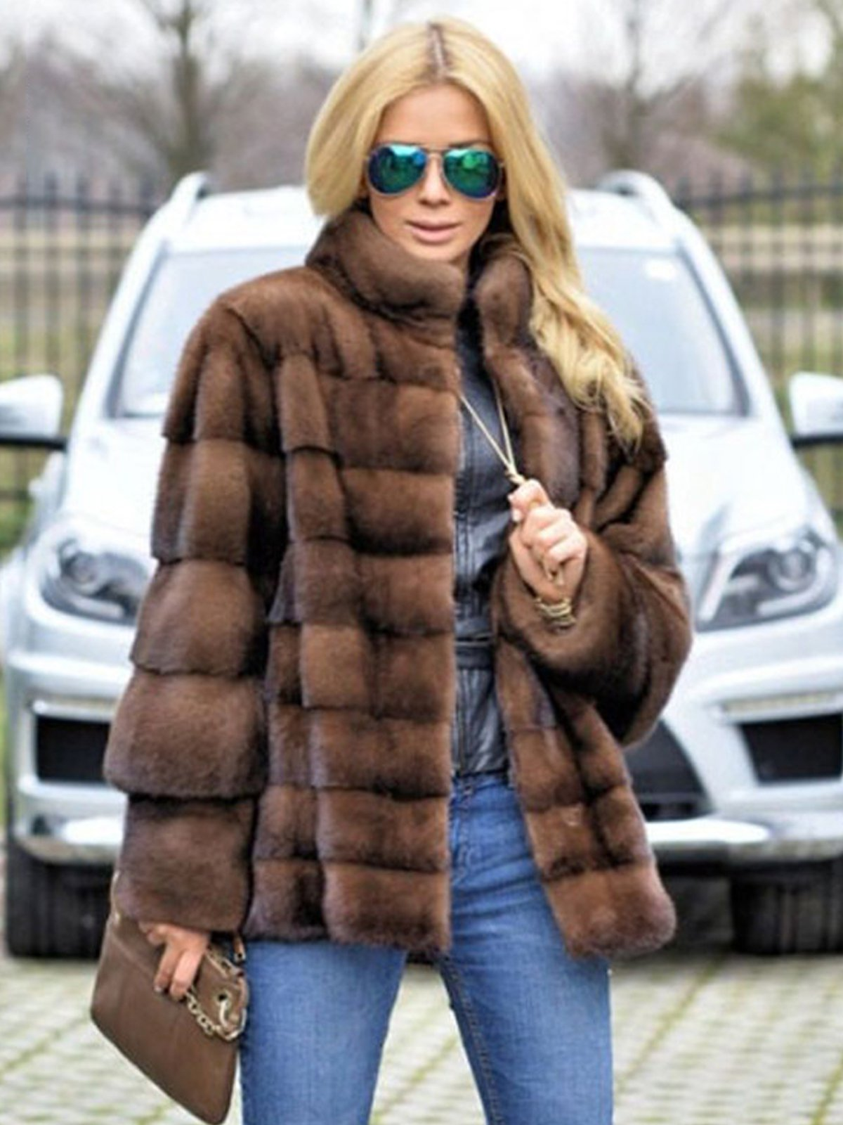 Casual Faux Fur Plain Coat
