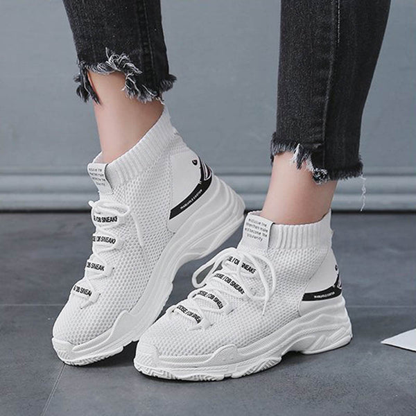 Women Sneakers 5 cm Thick Sole Sock Shoes Knit Vamp Breathable Papa Shoes