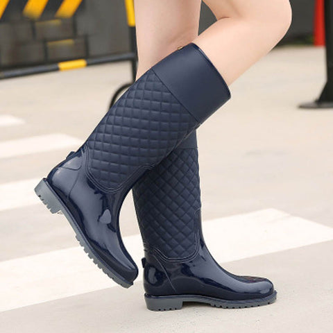 Low Heel Pvc Refined High Gloss Quilted Short Waterproof Rain Boots