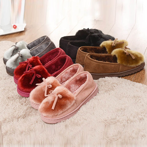 Women's Faux Rabbit Fur Know Short Plush Inside Shallow Slippers