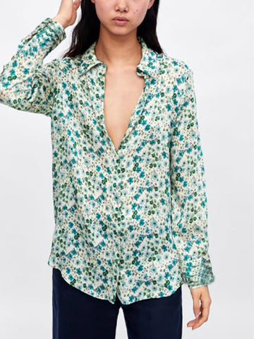 As Picture Floral-Print Casual Shirt