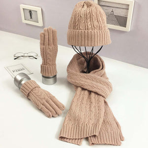 8 Colors Knitted Hat Scarf Gloves Set