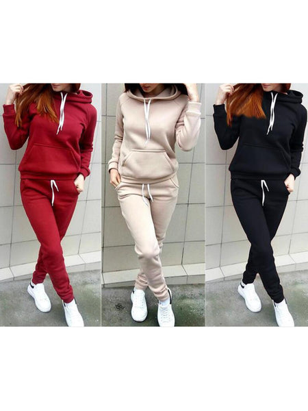 Long Sleeve Plain Pockets Casual Hoodie Sets