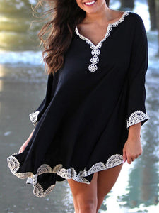 Asymmetrical V Neck Long Sleeve Casual Gown Dress