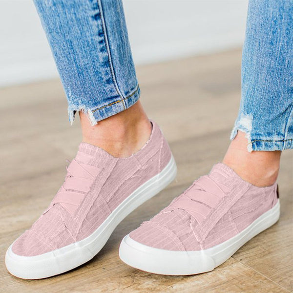 Women Casual Canvas Flat Heel Closed Toe Casual Sneakers