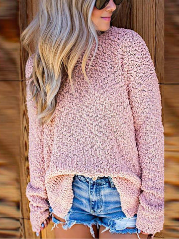 Women's Full Sleeve Fuzzy Knitted Sweater