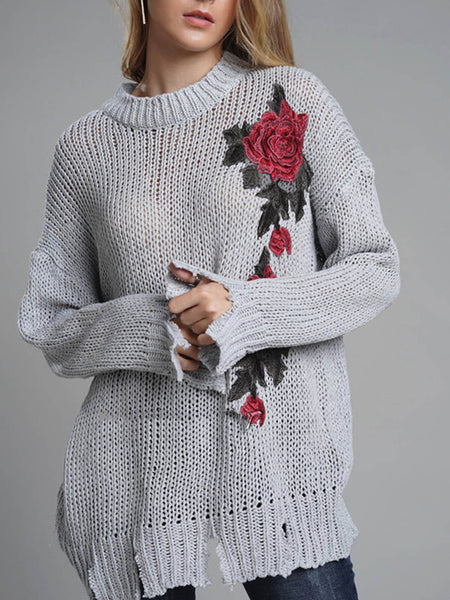 Embroidery Floral Loose Ripper Hem Sweater - kattystory
