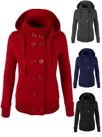 Long Sleeve Button Casual Detachable Hoodie Coat