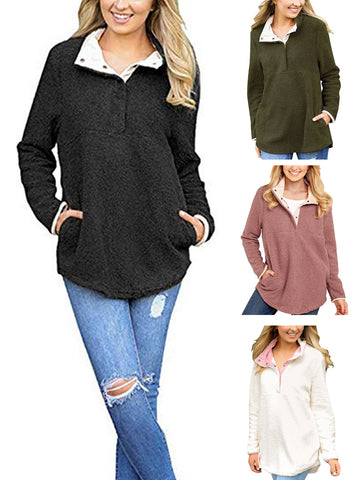 Women Mock Turtleneck Pullover Fleece Loose Sweatshirt