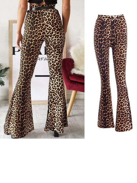 Women's High Waist Leopard Print Wide Leg Flare Trouse Long Pants
