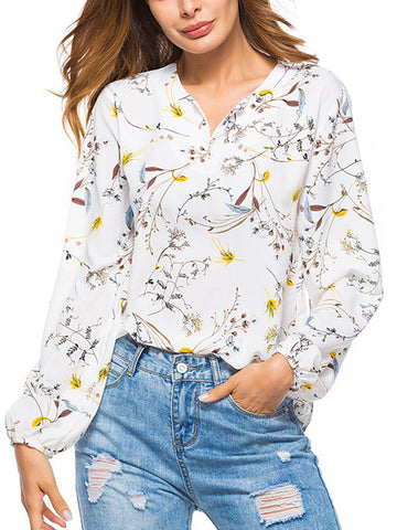 White Shift Long Sleeve Floral Printed Shirt