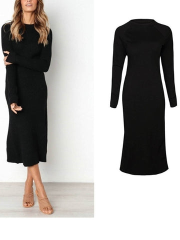 Hot Sales Women Casual Round Neck Long Sleeve Slim Dress Midi Dress