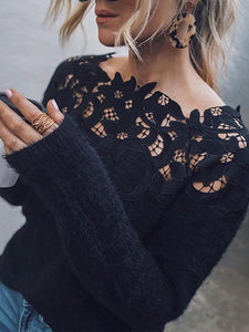 Black Floral Elegant Long Sleeve Sweater