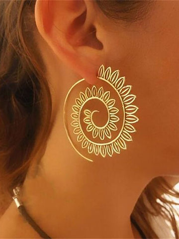 Womens Exaggerated Alloy Round Earrings - kattystory