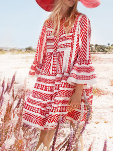 Printed Swing Tribal Casual Summer Dress