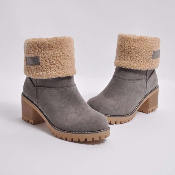 Women Warm Square Heels Ankle Snow Boots - kattystory