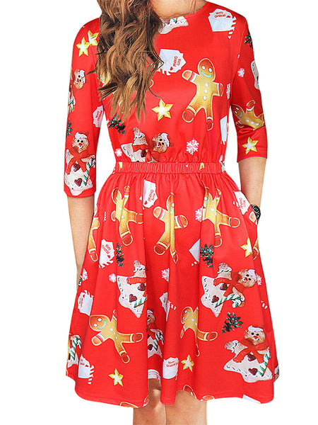 Christmas Crew Neck A-Line Holiday Holiday Floral Backless Dress - kattystory