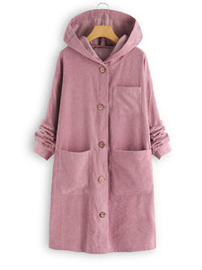 Casual Pockets Buttoned Corduroy Long Coat With Hoodie