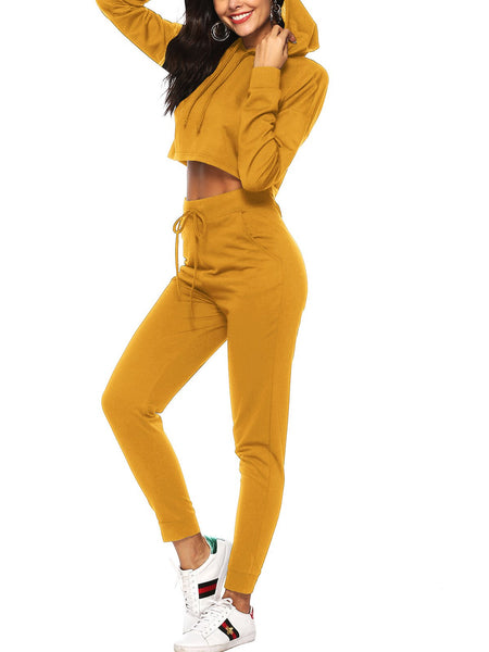 Sexy Long Sleeve Hoodie Blouse Pants Set