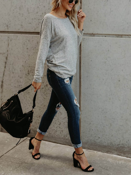 Women Sexy V Open Back Backless Long Sleeve Loose Sweater